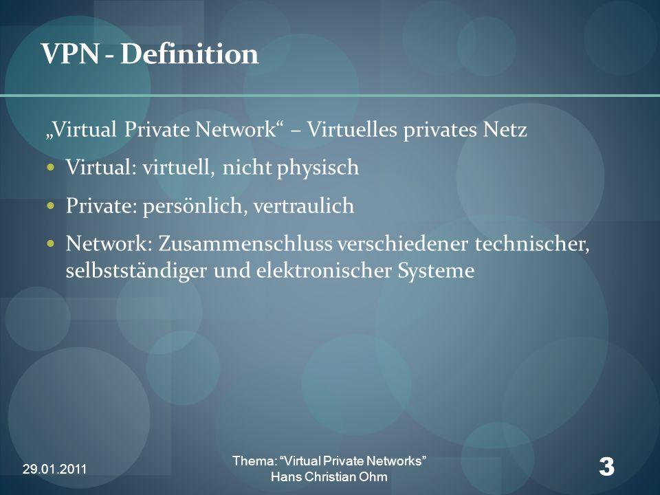 29.01.2011 4 Thema: Virtual Private Networks Hans Christian Ohm VPN - Anforderungen Sicherheit Transparenz Verfügbarkeit Performance Integration Managebarkeit