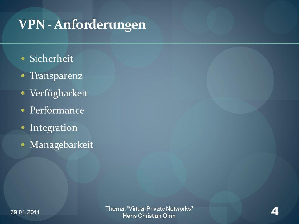 29.01.2011 4 Thema: Virtual Private Networks Hans Christian Ohm VPN - Anforderungen Sicherheit Transparenz Verfügbarkeit Performance Integration Manag