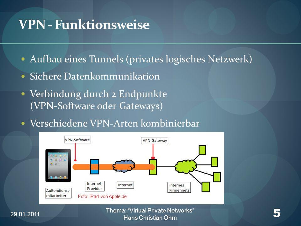 29.01.2011 16 Thema: Virtual Private Networks Hans Christian Ohm VPN – IP Sec (IP Security Protocol) Authentifizierung Manual Keying IKE (Internet Key Exchange Protocol) Diffie-Hellmann-Verfahren Verwendung von Pre-Shared-Keys bzw.