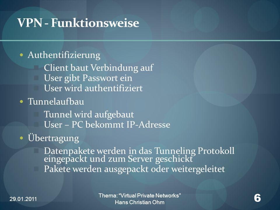 29.01.2011 6 Thema: Virtual Private Networks Hans Christian Ohm VPN - Funktionsweise Authentifizierung Client baut Verbindung auf User gibt Passwort e