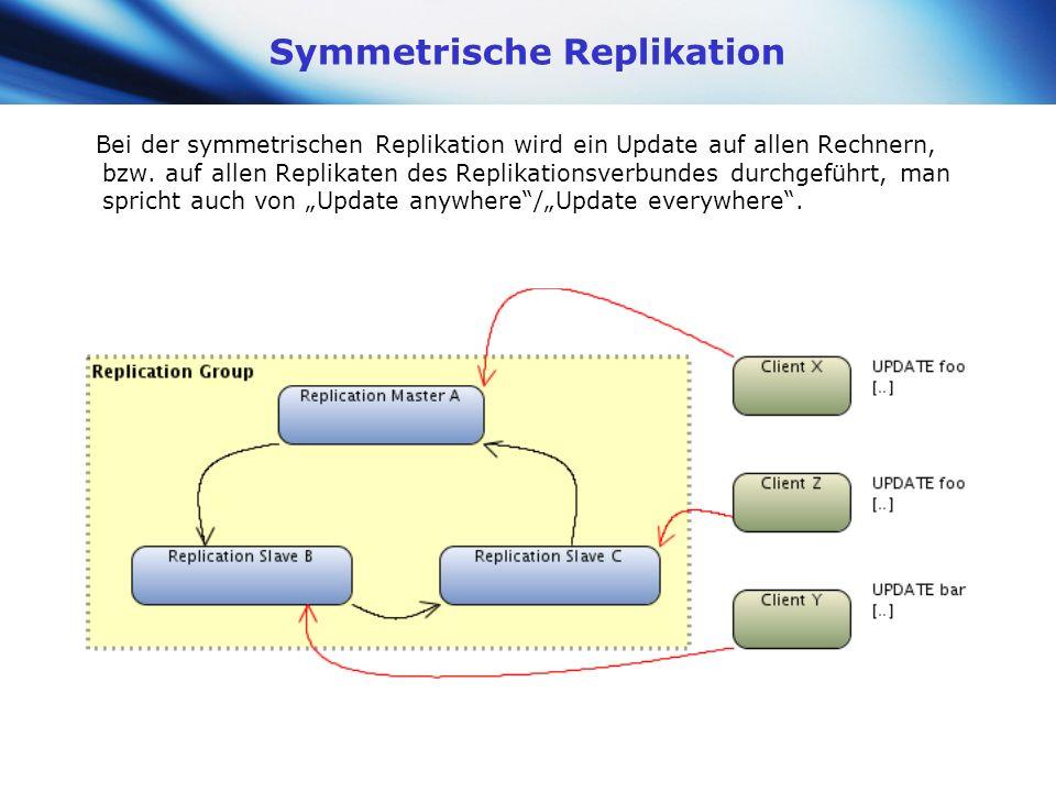www.themegallery.com Company Logo Symmetrische Replikation Bei der symmetrischen Replikation wird ein Update auf allen Rechnern, bzw. auf allen Replik