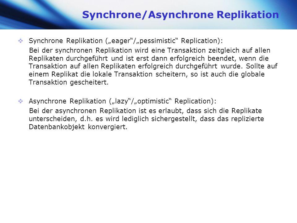 www.themegallery.com Company Logo Synchrone/Asynchrone Replikation Synchrone Replikation (eager/pessimistic Replication): Bei der synchronen Replikati