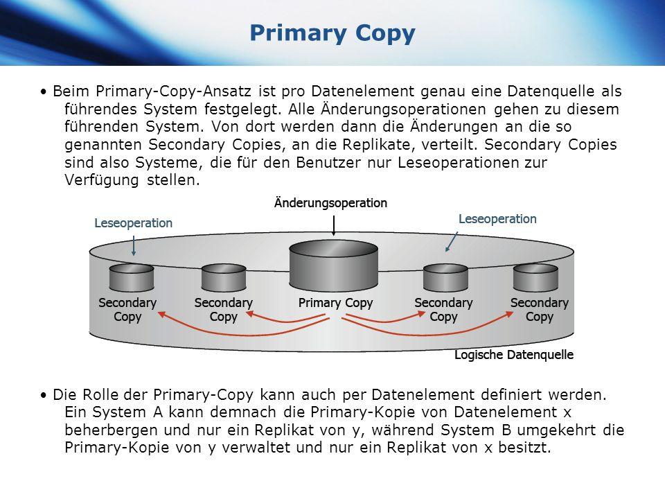 www.themegallery.com Company Logo Primary Copy Beim Primary-Copy-Ansatz ist pro Datenelement genau eine Datenquelle als führendes System festgelegt. A