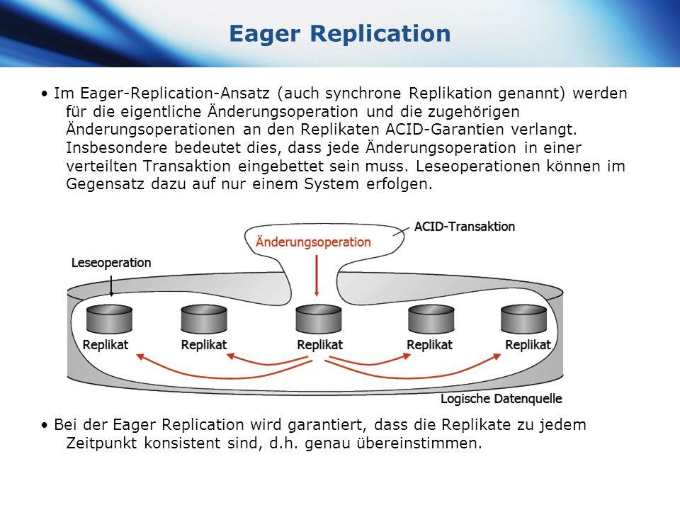 www.themegallery.com Company Logo Eager Replication Im Eager-Replication-Ansatz (auch synchrone Replikation genannt) werden für die eigentliche Änderu