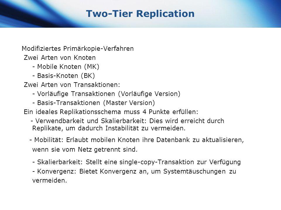 www.themegallery.com Company Logo Two-Tier Replication Modifiziertes Primärkopie-Verfahren Zwei Arten von Knoten - Mobile Knoten (MK) - Basis-Knoten (