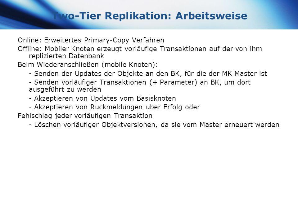 www.themegallery.com Company Logo Two-Tier Replikation: Arbeitsweise Online: Erweitertes Primary-Copy Verfahren Offline: Mobiler Knoten erzeugt vorläu