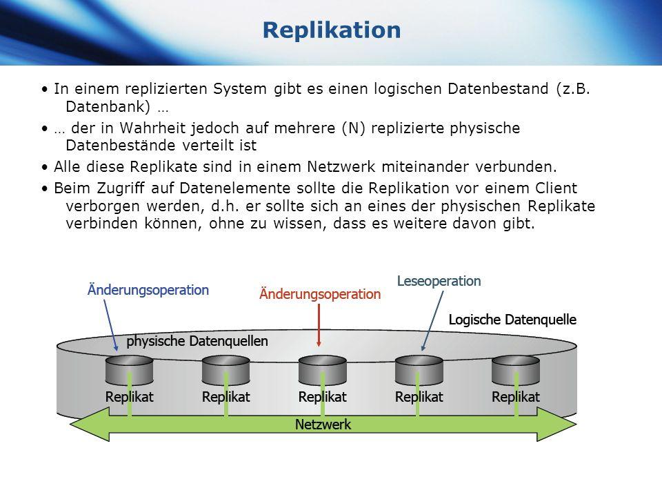 www.themegallery.com Company Logo Replikation In einem replizierten System gibt es einen logischen Datenbestand (z.B. Datenbank) … … der in Wahrheit j