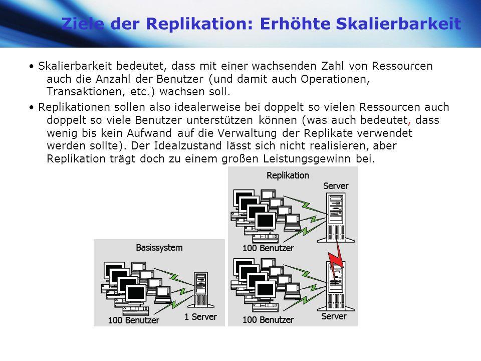 www.themegallery.com Company Logo Ziele der Replikation: Erhöhte Skalierbarkeit Skalierbarkeit bedeutet, dass mit einer wachsenden Zahl von Ressourcen
