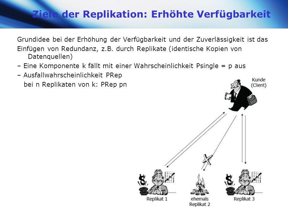 www.themegallery.com Company Logo Ziele der Replikation: Erhöhte Verfügbarkeit Grundidee bei der Erhöhung der Verfügbarkeit und der Zuverlässigkeit is