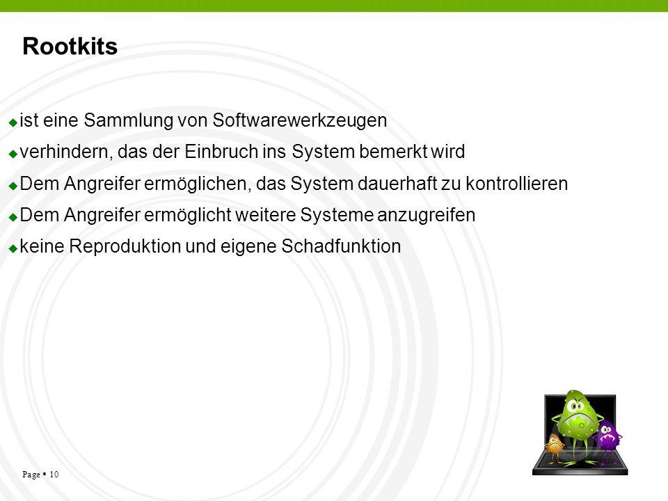 Page 10 Rootkits ist eine Sammlung von Softwarewerkzeugen verhindern, das der Einbruch ins System bemerkt wird Dem Angreifer ermöglichen, das System d