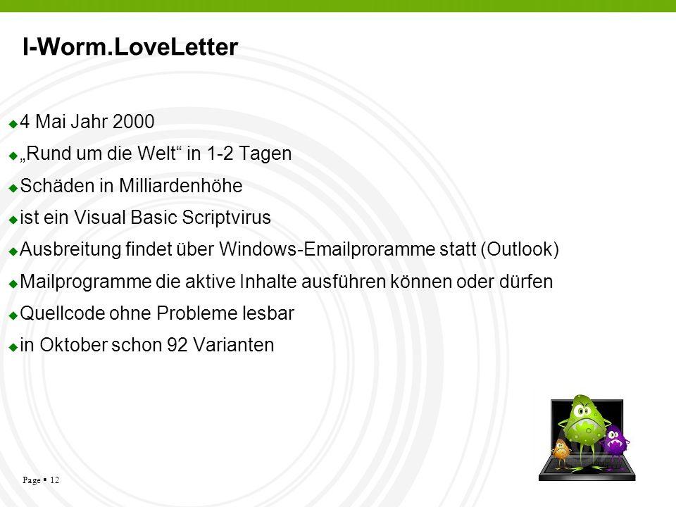 Page 12 I-Worm.LoveLetter 4 Mai Jahr 2000 Rund um die Welt in 1-2 Tagen Schäden in Milliardenhöhe ist ein Visual Basic Scriptvirus Ausbreitung findet