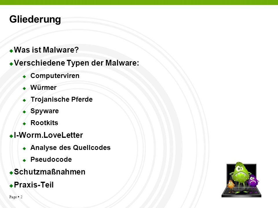Page 2 Gliederung Was ist Malware? Verschiedene Typen der Malware: Computerviren Würmer Trojanische Pferde Spyware Rootkits I-Worm.LoveLetter Analyse