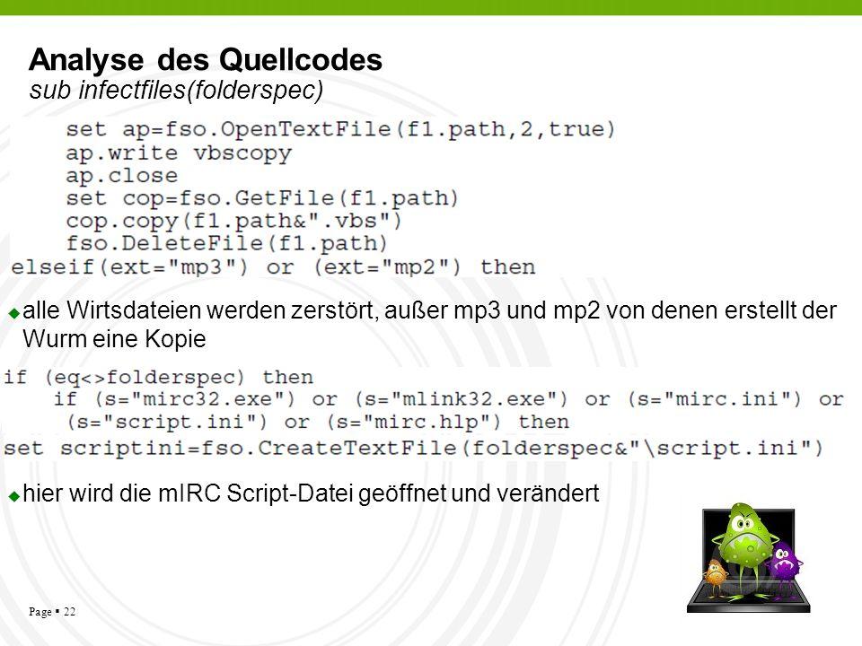 Page 22 Analyse des Quellcodes sub infectfiles(folderspec) alle Wirtsdateien werden zerstört, außer mp3 und mp2 von denen erstellt der Wurm eine Kopie