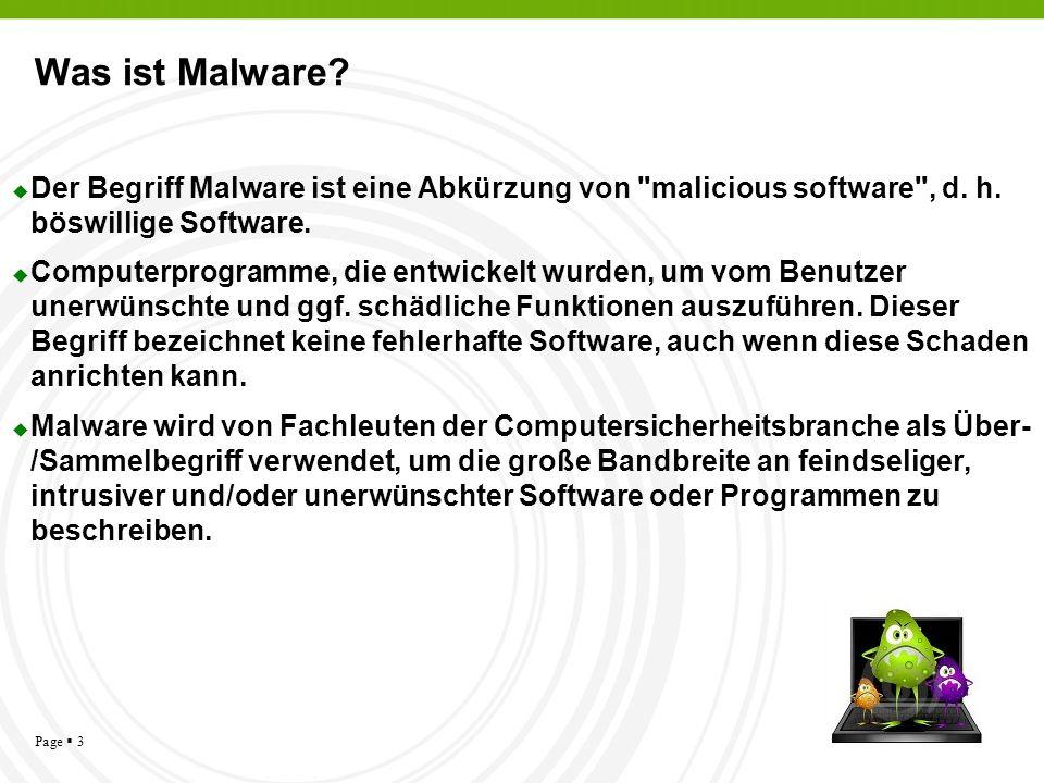 Page 3 Was ist Malware? Der Begriff Malware ist eine Abkürzung von