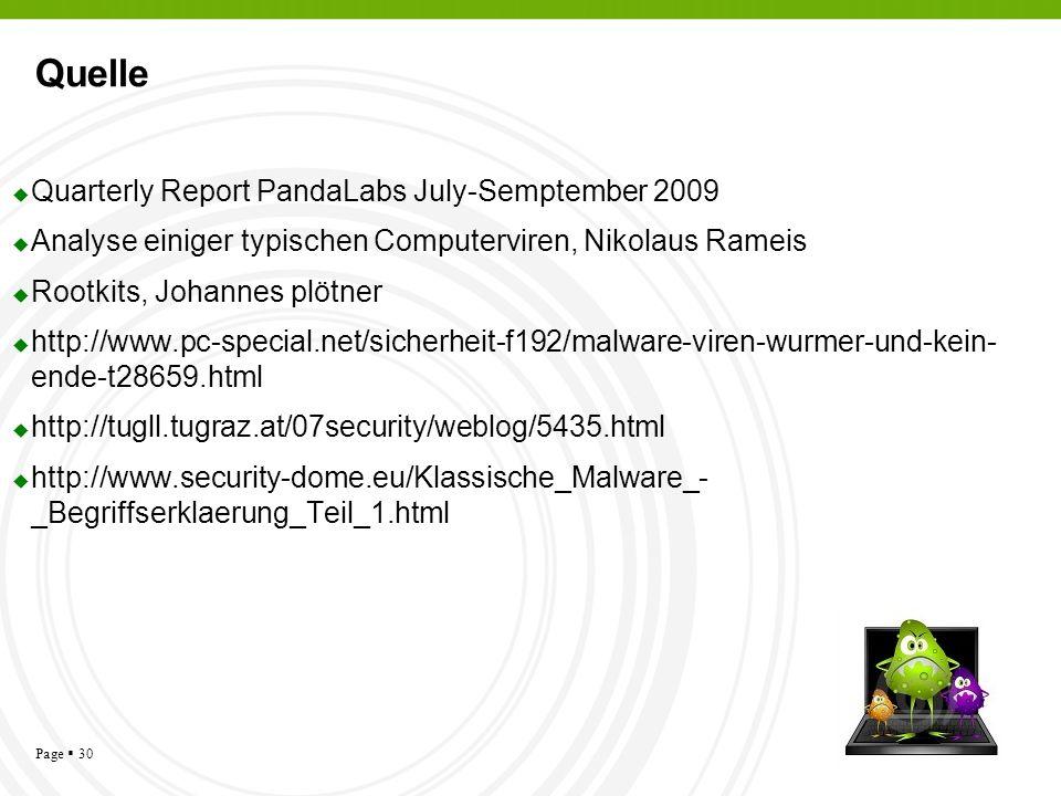 Page 30 Quelle Quarterly Report PandaLabs July-Semptember 2009 Analyse einiger typischen Computerviren, Nikolaus Rameis Rootkits, Johannes plötner htt
