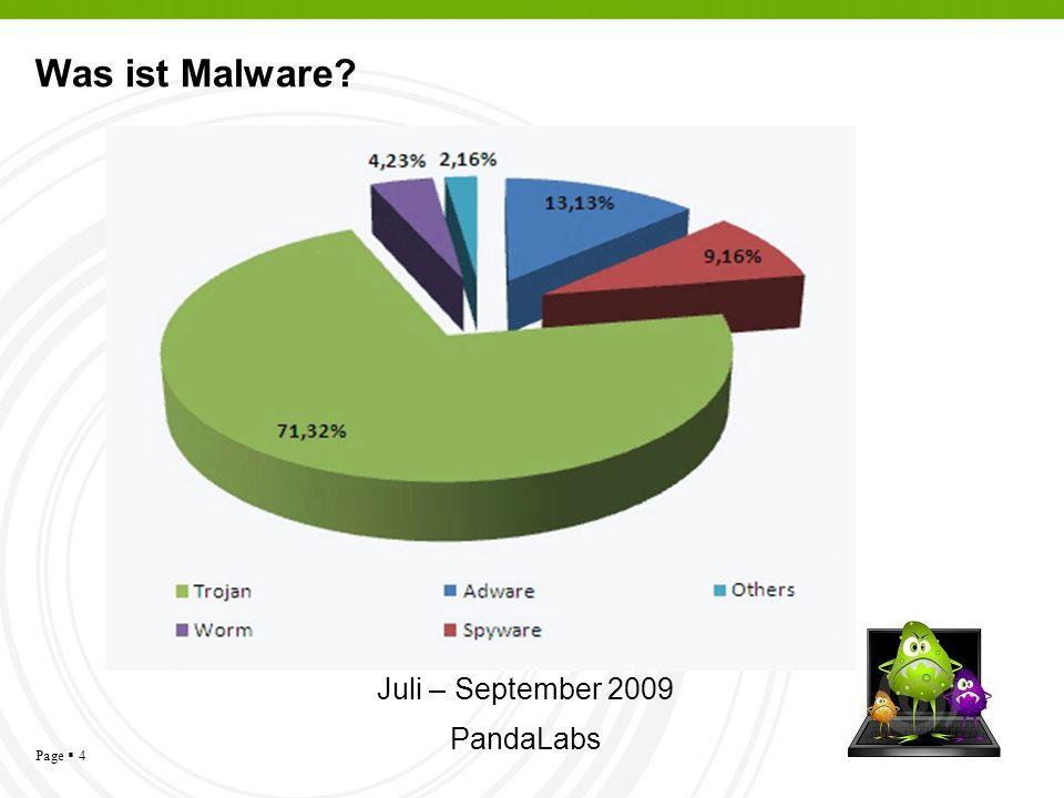 Page 4 Was ist Malware? Juli – September 2009 PandaLabs