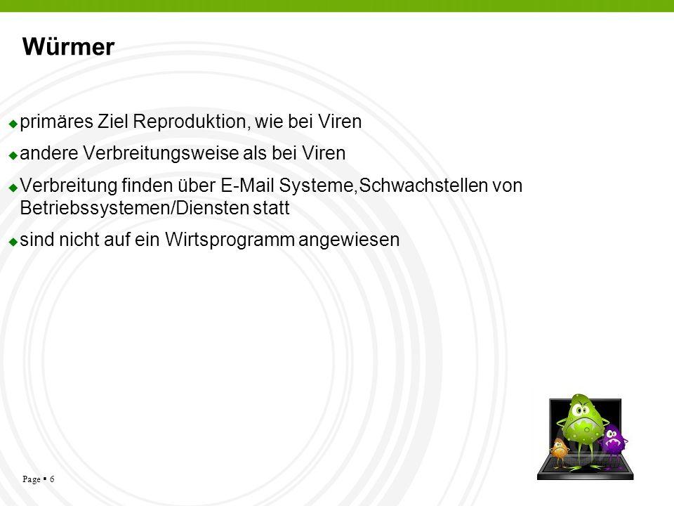Page 6 Würmer primäres Ziel Reproduktion, wie bei Viren andere Verbreitungsweise als bei Viren Verbreitung finden über E-Mail Systeme,Schwachstellen v