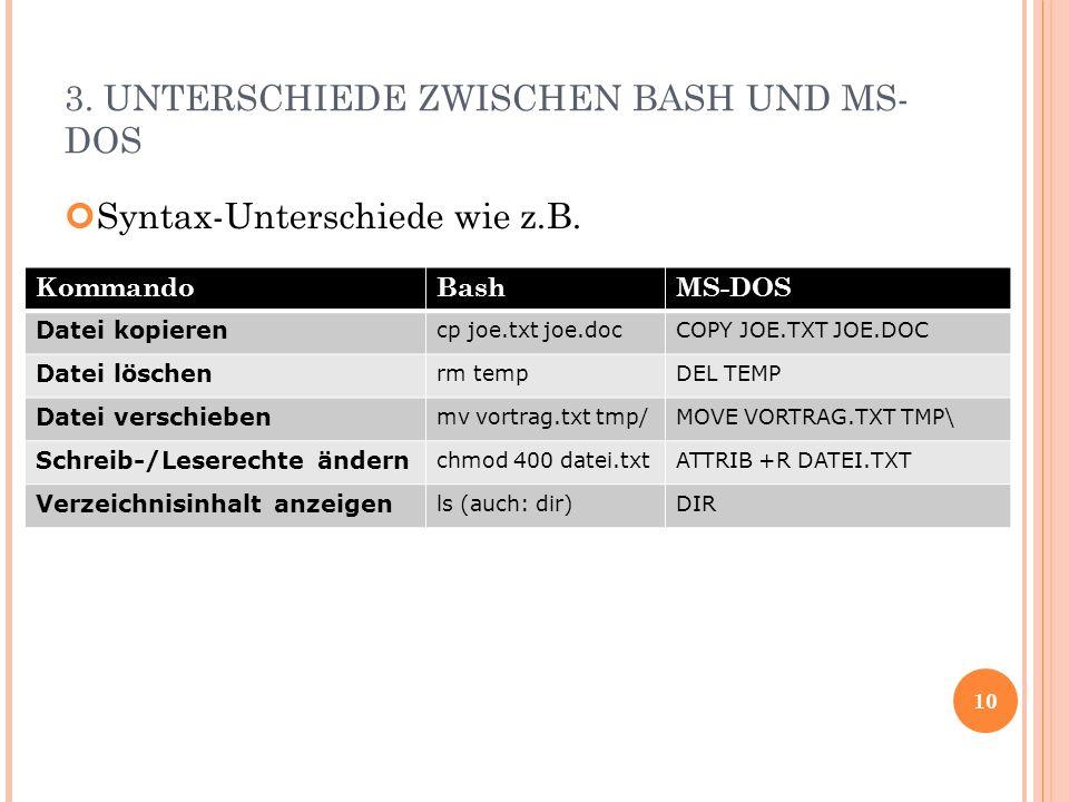 3. UNTERSCHIEDE ZWISCHEN BASH UND MS- DOS Syntax-Unterschiede wie z.B. 10 KommandoBashMS-DOS Datei kopieren cp joe.txt joe.docCOPY JOE.TXT JOE.DOC Dat