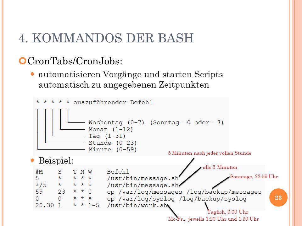 4. KOMMANDOS DER BASH CronTabs/CronJobs: automatisieren Vorgänge und starten Scripts automatisch zu angegebenen Zeitpunkten Beispiel: 23 5 Minuten nac