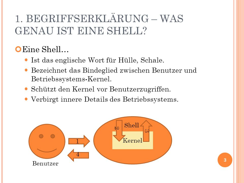 1. BEGRIFFSERKLÄRUNG – WAS GENAU IST EINE SHELL? Eine Shell… Ist das englische Wort für Hülle, Schale. Bezeichnet das Bindeglied zwischen Benutzer und