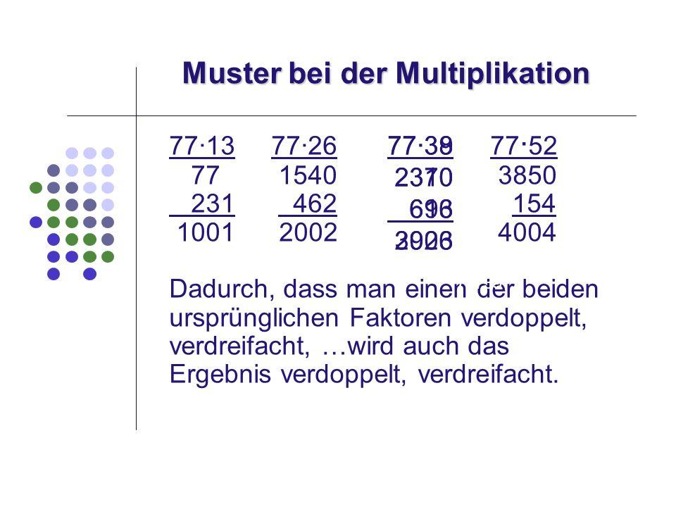Muster bei der Multiplikation 7713 7726 77 52 77 1540 3850 231 462 154 1001 2002 4004 Dadurch, dass man einen der beiden ursprünglichen Faktoren verdo