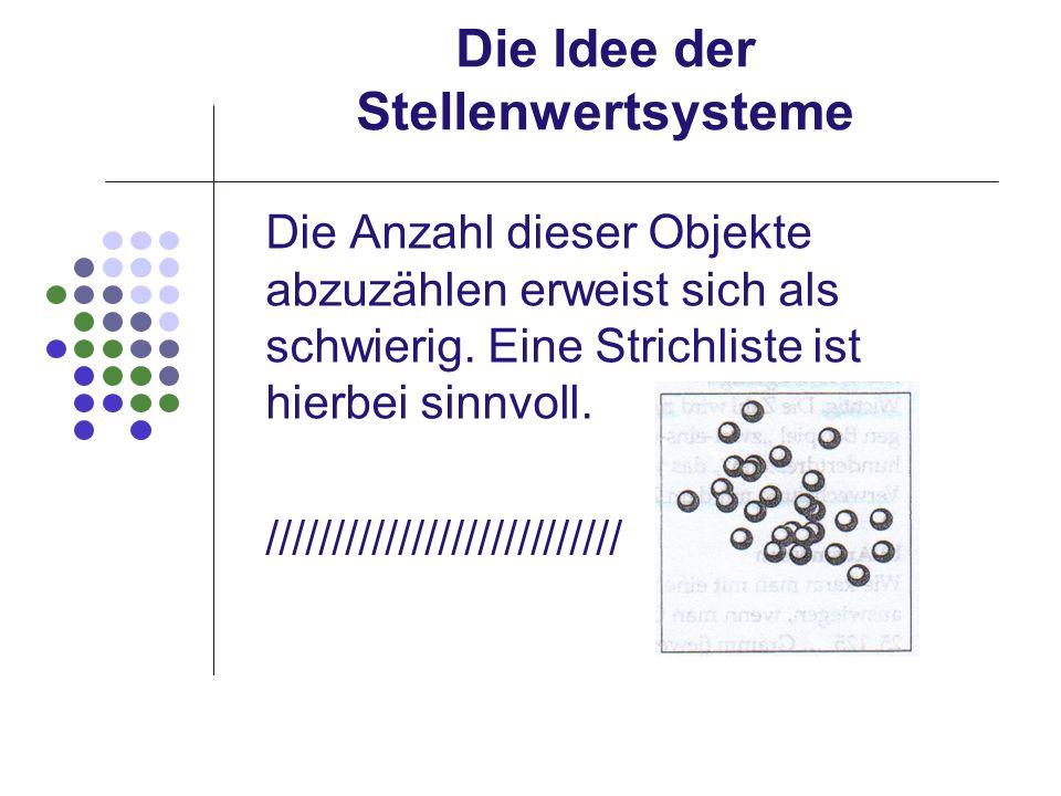 Die Idee der Stellenwertsysteme Die Anzahl dieser Objekte abzuzählen erweist sich als schwierig. Eine Strichliste ist hierbei sinnvoll. //////////////