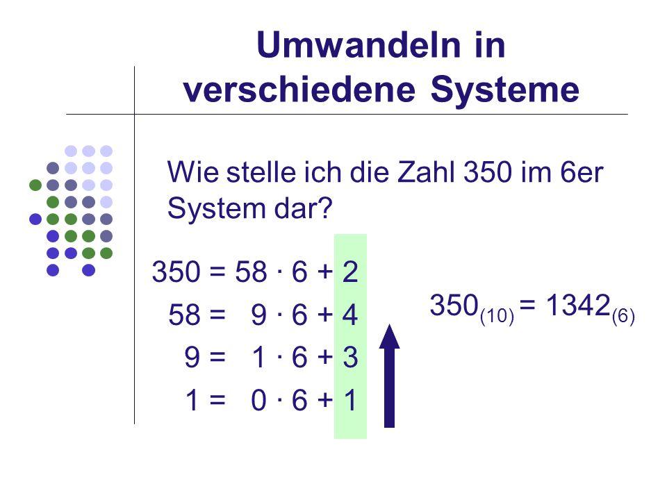 Umwandeln in verschiedene Systeme Wie stelle ich die Zahl 350 im 6er System dar? 350 = 58 · 6 + 2 58 = 9 · 6 + 4 9 = 1 · 6 + 3 1 = 0 · 6 + 1 350 (10)