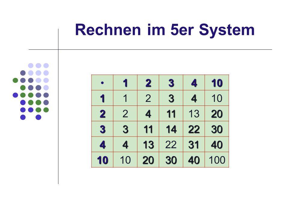 Rechnen im 5er System 123410 1123410 224111320 3311142230 4413223140 1010203040100