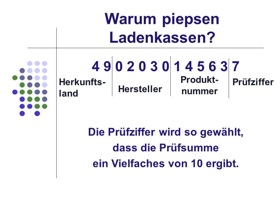 Warum piepsen Ladenkassen? 4 9 0 2 0 3 0 1 4 5 6 3 7 Hersteller Produkt- nummer Herkunfts- land Prüfziffer Die Prüfziffer wird so gewählt, dass die Pr
