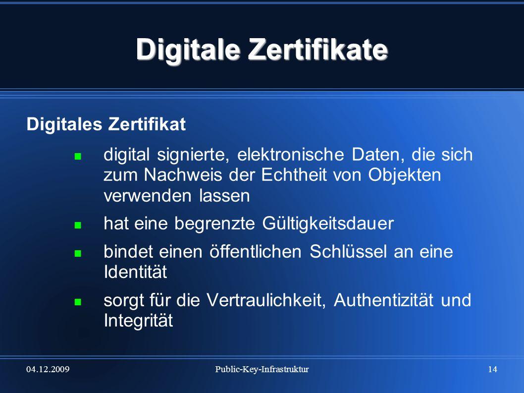 04.12.2009Public-Key-Infrastruktur14 Digitale Zertifikate Digitales Zertifikat digital signierte, elektronische Daten, die sich zum Nachweis der Echth