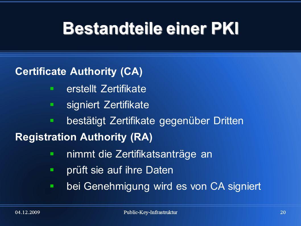 04.12.2009Public-Key-Infrastruktur20 Bestandteile einer PKI Certificate Authority (CA) erstellt Zertifikate signiert Zertifikate bestätigt Zertifikate