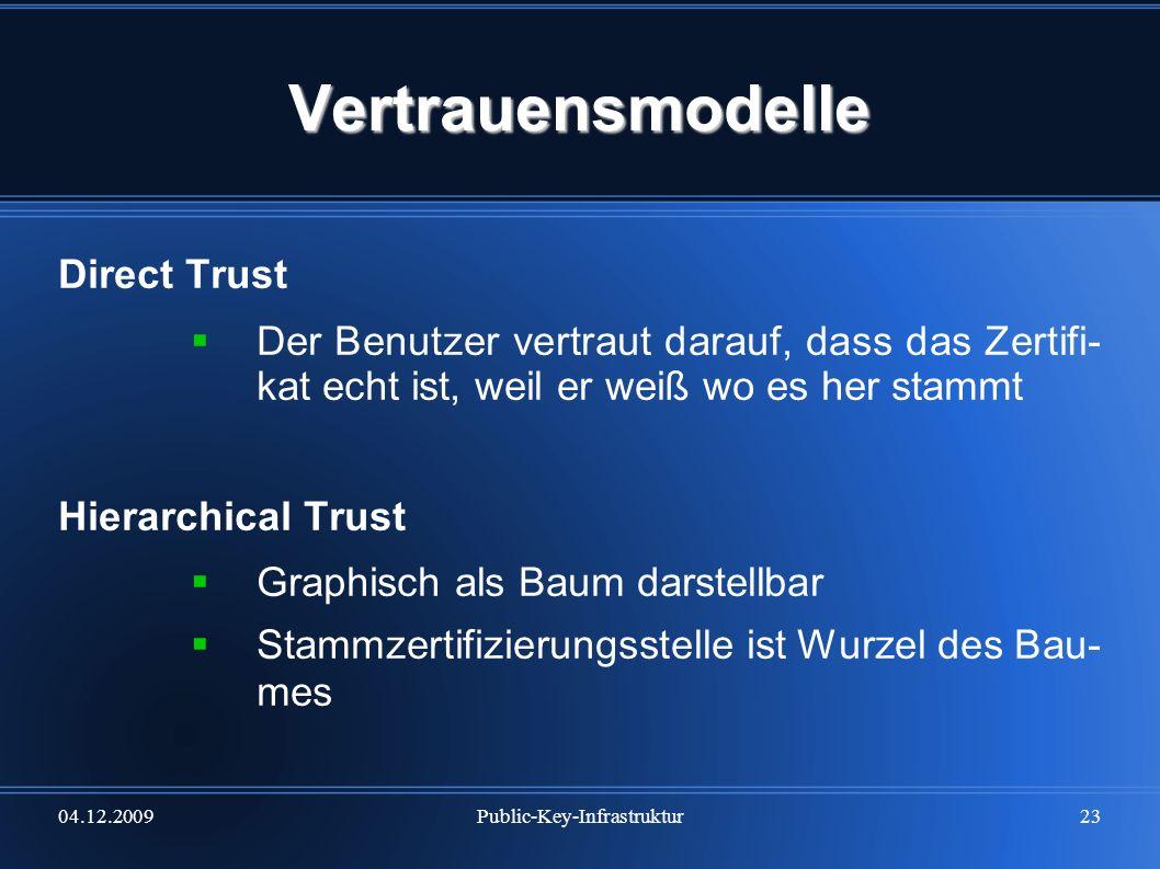 04.12.2009Public-Key-Infrastruktur23 Vertrauensmodelle Direct Trust Der Benutzer vertraut darauf, dass das Zertifi- kat echt ist, weil er weiß wo es h