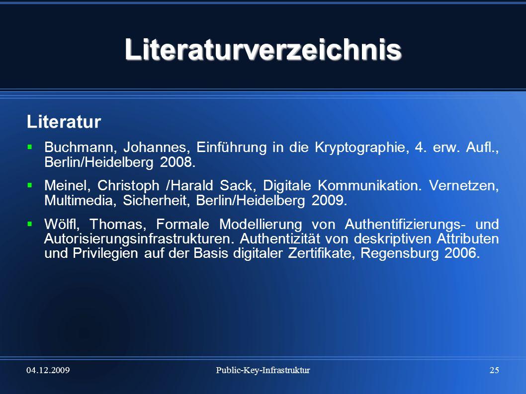 04.12.2009Public-Key-Infrastruktur25 Literaturverzeichnis Literatur Buchmann, Johannes, Einführung in die Kryptographie, 4. erw. Aufl., Berlin/Heidelb