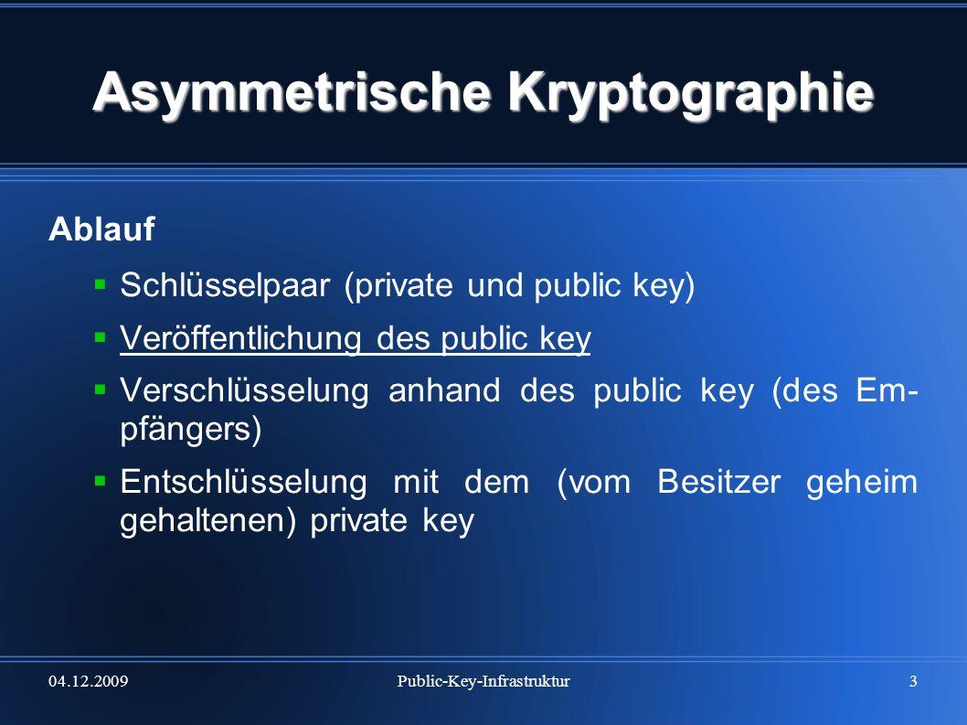 04.12.2009Public-Key-Infrastruktur3 Asymmetrische Kryptographie Ablauf Schlüsselpaar (private und public key) Veröffentlichung des public key Verschlü