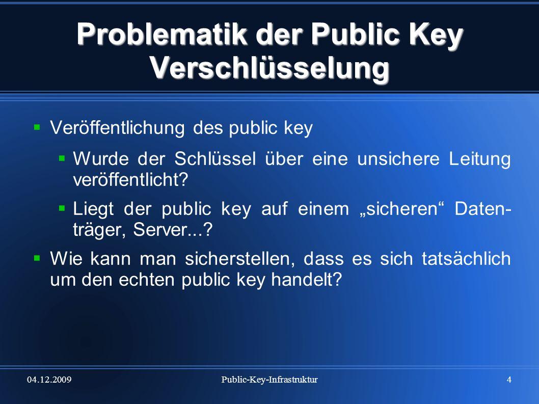 04.12.2009Public-Key-Infrastruktur5 Problematik der Public Key Verschlüsselung Fazit elektronisch übermittelte Daten durchlaufen viele Stationen auf dem Weg zum Empfänger bei jeder durchlaufenen Station können die Daten verfälscht, manipuliert, abgehört etc.