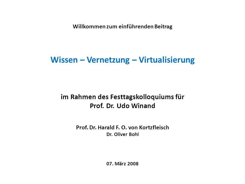Willkommen zum einführenden Beitrag Wissen – Vernetzung – Virtualisierung im Rahmen des Festtagskolloquiums für Prof.