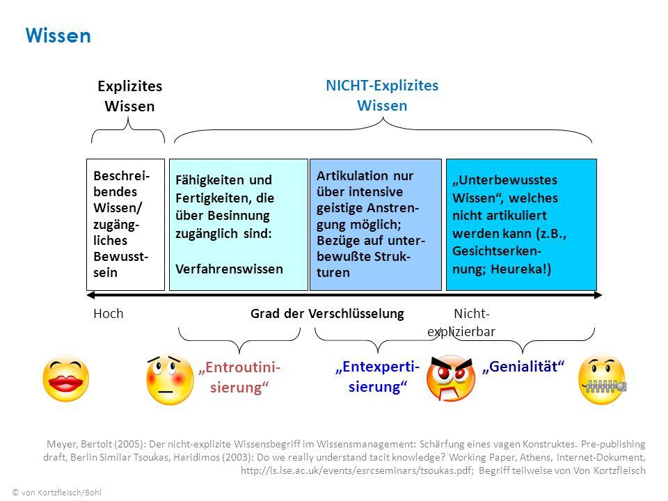 Wissen Meyer, Bertolt (2005): Der nicht-explizite Wissensbegriff im Wissensmanagement: Schärfung eines vagen Konstruktes.