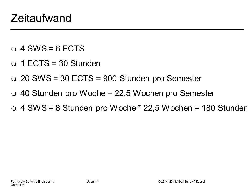 Zeitaufwand m 4 SWS = 6 ECTS m 1 ECTS = 30 Stunden m 20 SWS = 30 ECTS = 900 Stunden pro Semester m 40 Stunden pro Woche = 22,5 Wochen pro Semester m 4