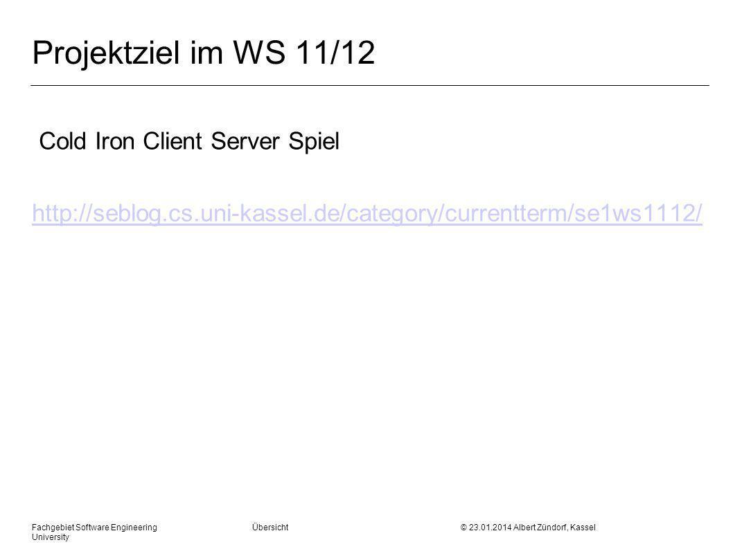 Fachgebiet Software Engineering Übersicht © 23.01.2014 Albert Zündorf, Kassel University Projektziel im WS 11/12 Cold Iron Client Server Spiel http://