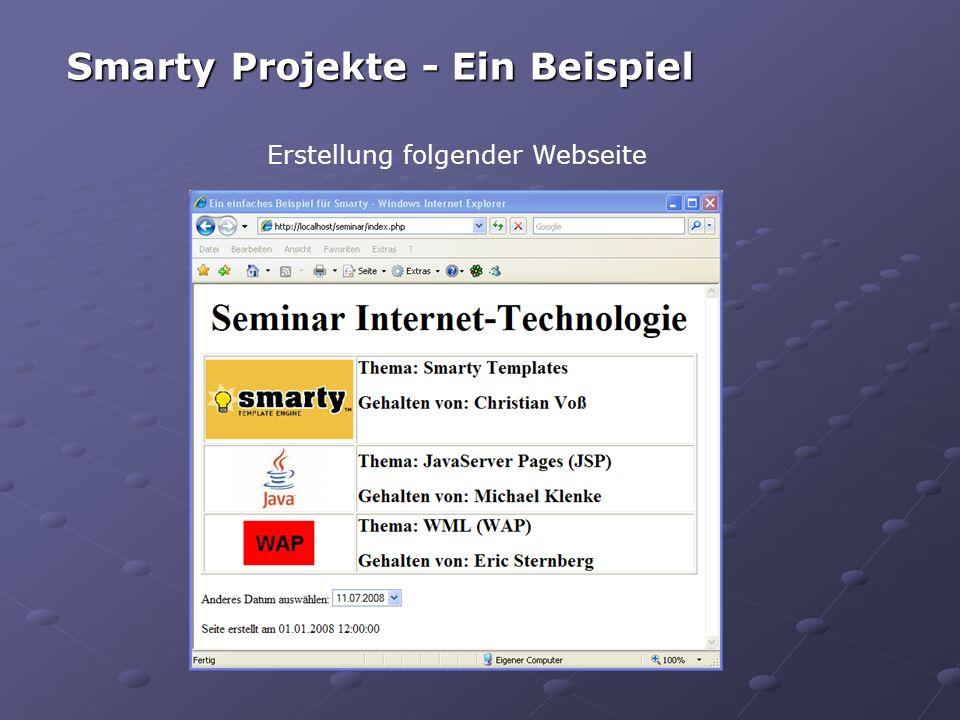 Smarty Projekte - Ein Beispiel Erstellung folgender Webseite