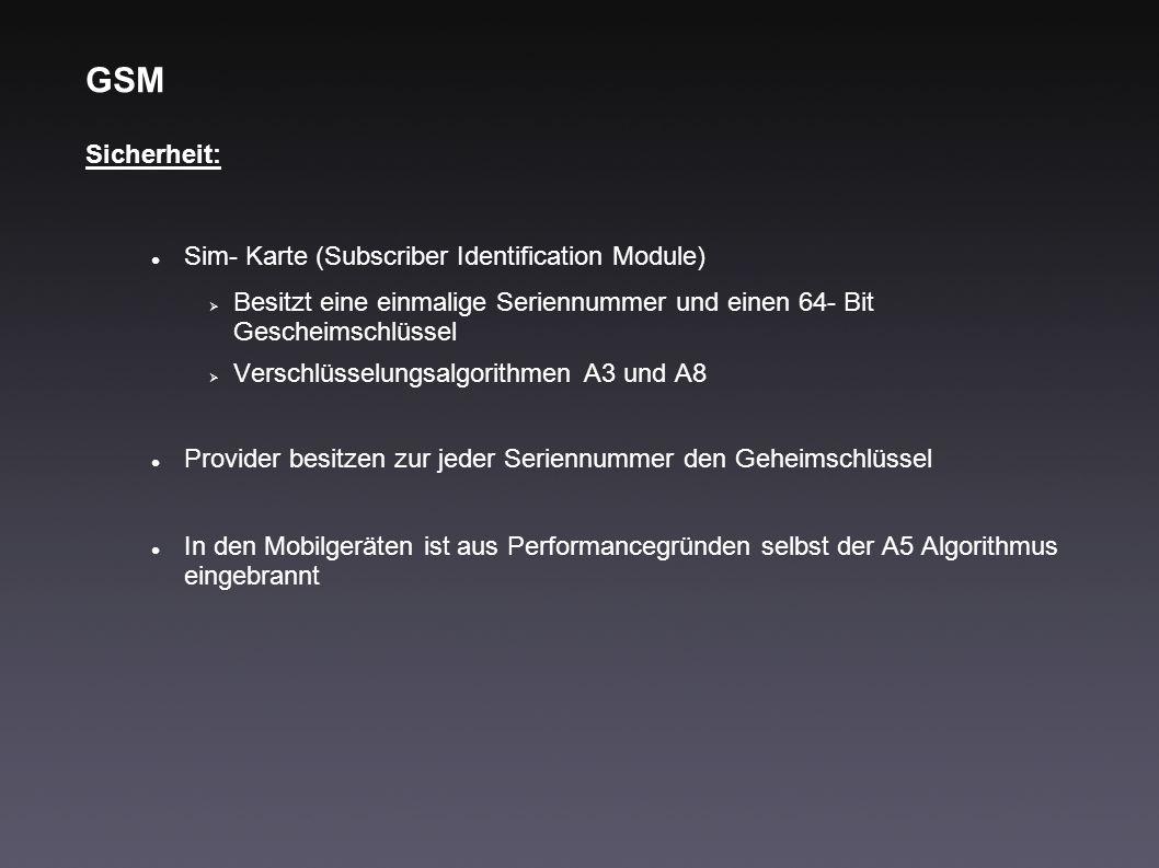 GSM Sicherheit: Sim- Karte (Subscriber Identification Module) Besitzt eine einmalige Seriennummer und einen 64- Bit Gescheimschlüssel Verschlüsselungs