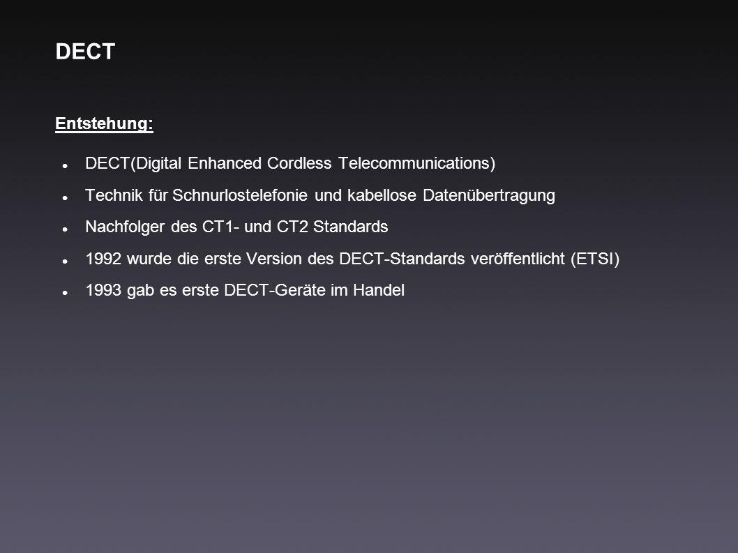 DECT Entstehung: DECT(Digital Enhanced Cordless Telecommunications) Technik für Schnurlostelefonie und kabellose Datenübertragung Nachfolger des CT1-