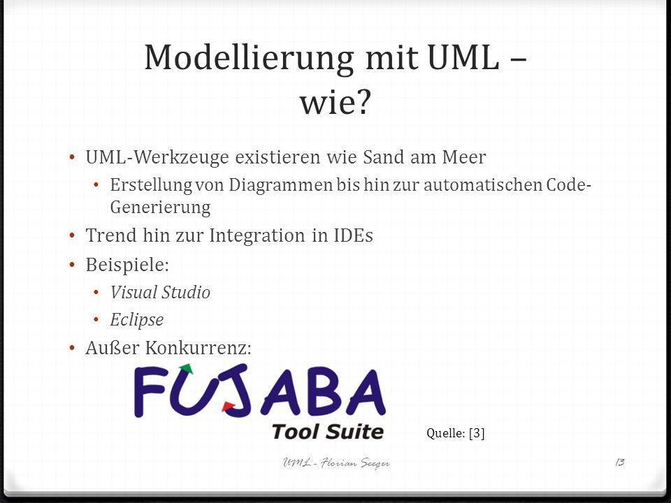 Modellierung mit UML – wie? UML-Werkzeuge existieren wie Sand am Meer Erstellung von Diagrammen bis hin zur automatischen Code- Generierung Trend hin