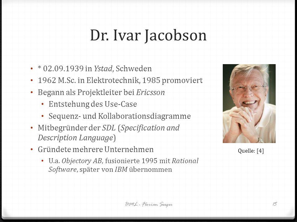 Dr. Ivar Jacobson * 02.09.1939 in Ystad, Schweden 1962 M.Sc. in Elektrotechnik, 1985 promoviert Begann als Projektleiter bei Ericsson Entstehung des U