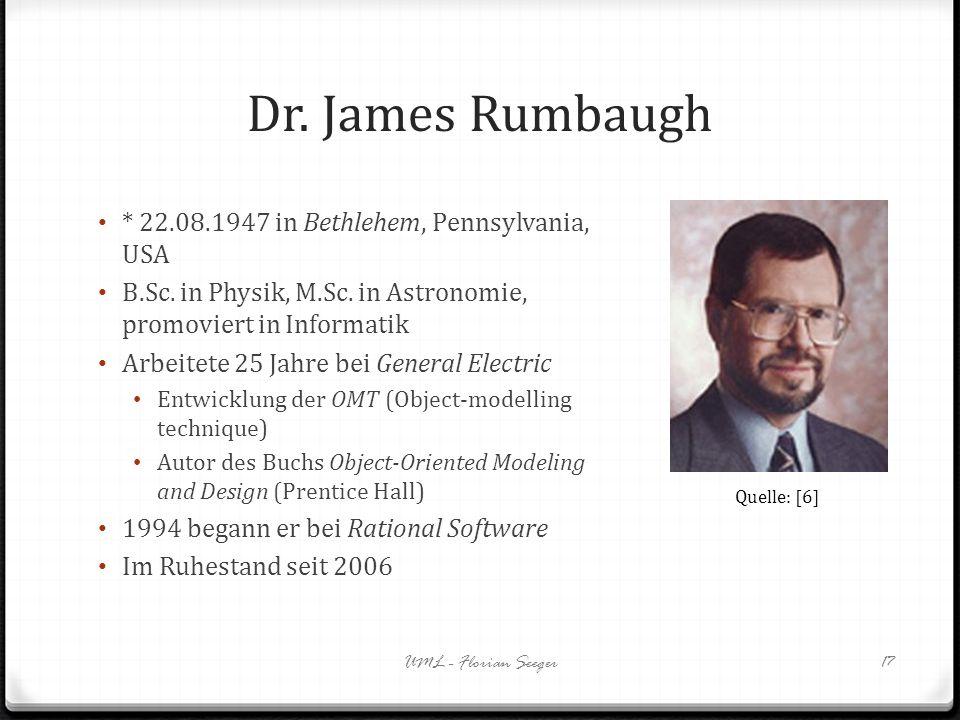 Dr. James Rumbaugh * 22.08.1947 in Bethlehem, Pennsylvania, USA B.Sc. in Physik, M.Sc. in Astronomie, promoviert in Informatik Arbeitete 25 Jahre bei
