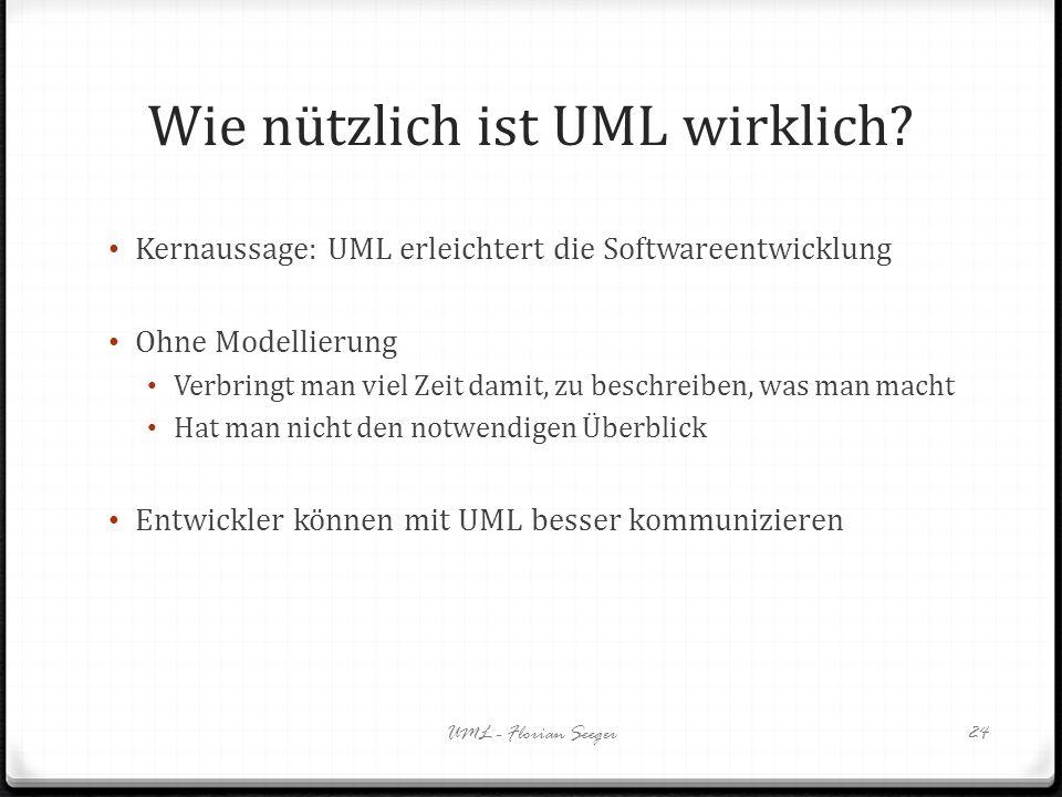 Wie nützlich ist UML wirklich? Kernaussage: UML erleichtert die Softwareentwicklung Ohne Modellierung Verbringt man viel Zeit damit, zu beschreiben, w