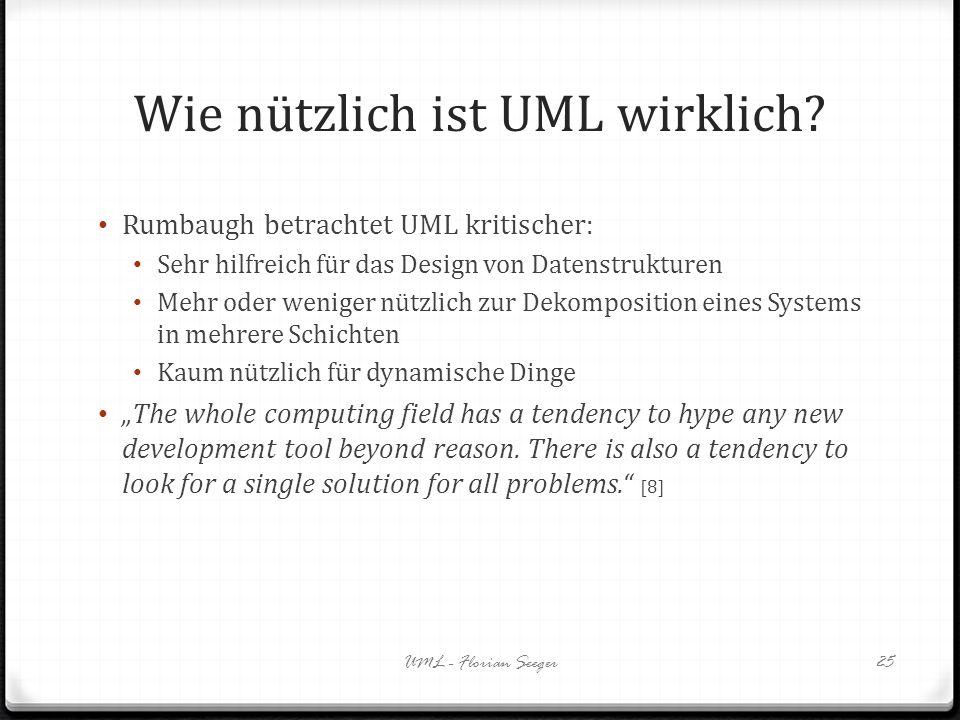 Wie nützlich ist UML wirklich? Rumbaugh betrachtet UML kritischer: Sehr hilfreich für das Design von Datenstrukturen Mehr oder weniger nützlich zur De