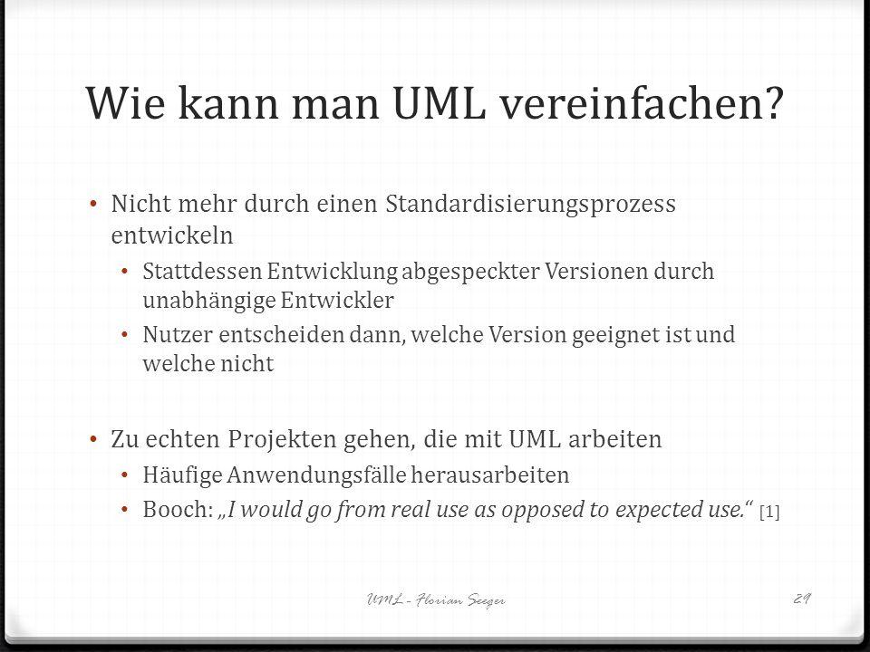 Wie kann man UML vereinfachen? Nicht mehr durch einen Standardisierungsprozess entwickeln Stattdessen Entwicklung abgespeckter Versionen durch unabhän