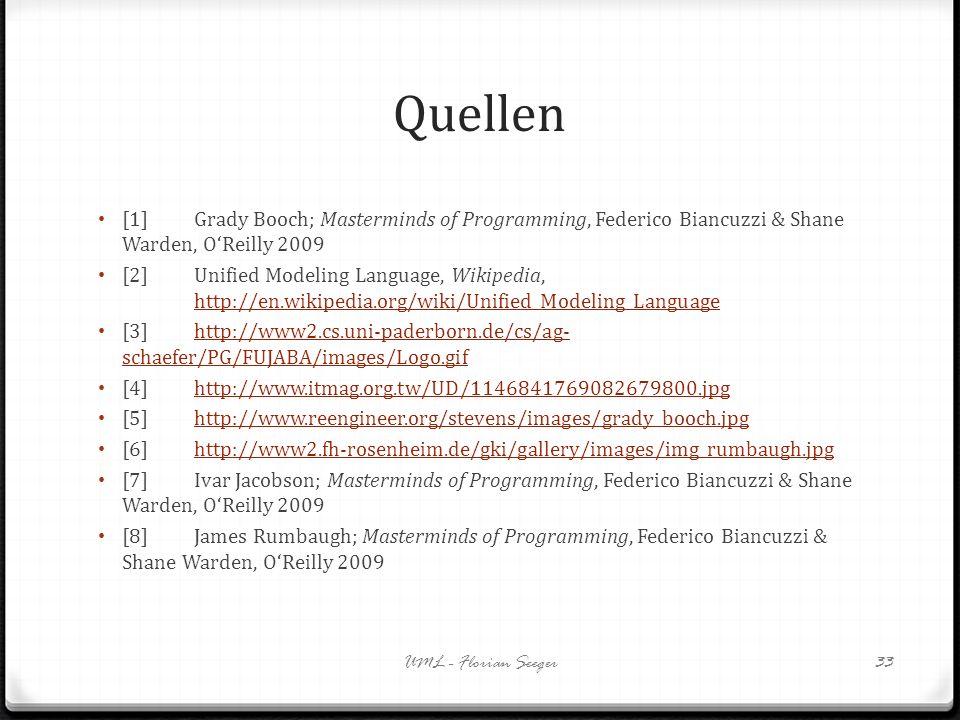 Quellen [1]Grady Booch; Masterminds of Programming, Federico Biancuzzi & Shane Warden, OReilly 2009 [2]Unified Modeling Language, Wikipedia, http://en