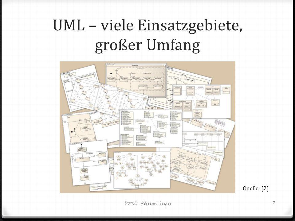UML – viele Einsatzgebiete, großer Umfang UML - Florian Seeger7 Quelle: [2]